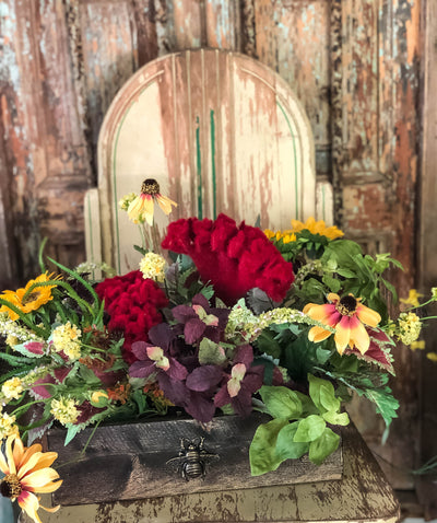 The Beatrice Summer Wildflower Centerpiece For Table~natural look artificial succulent arrangement~Farmhouse fall arrangement~Garden floral