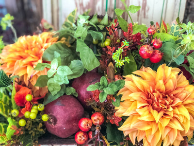 The Dahlia Mixed Summer Wildflower Centerpiece For Table~Natural garden succulent floral arrangement~Summer fall sunflower arrangement