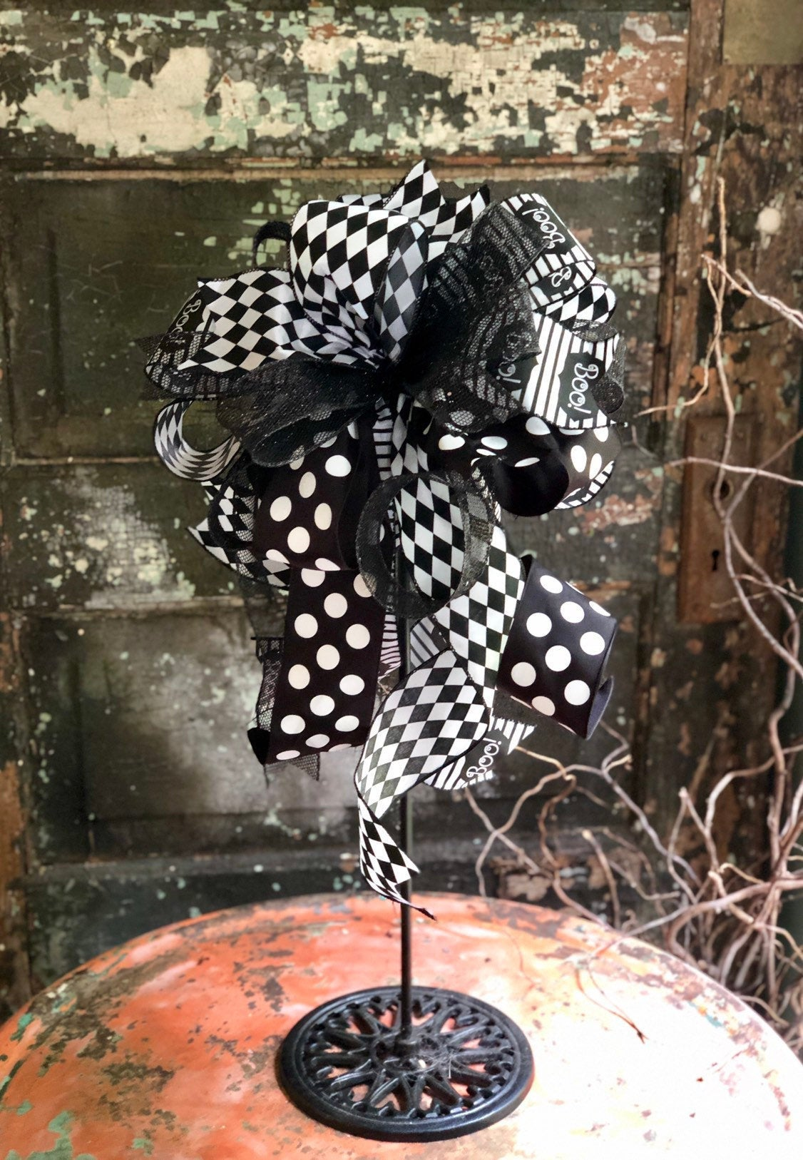 The Boojangles Black & White Halloween Bow for Wreaths And Lanterns~Spooky All Hallows Eve Bow~Skeleton Bow~pumpkin bow~graveyard bow~