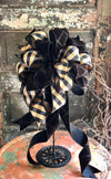 The Bailey Black & Tan Fall Bow For Wreaths and Lanterns~Check bow, autumn bow, mailbox bow, country farmhouse bow~swag bow