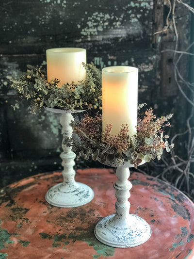 The Madeline White Distressed Pillar Candle Holder~Farmhouse candle stand for pillar candle~shabby chic decor~small tray stand~Cottage decor