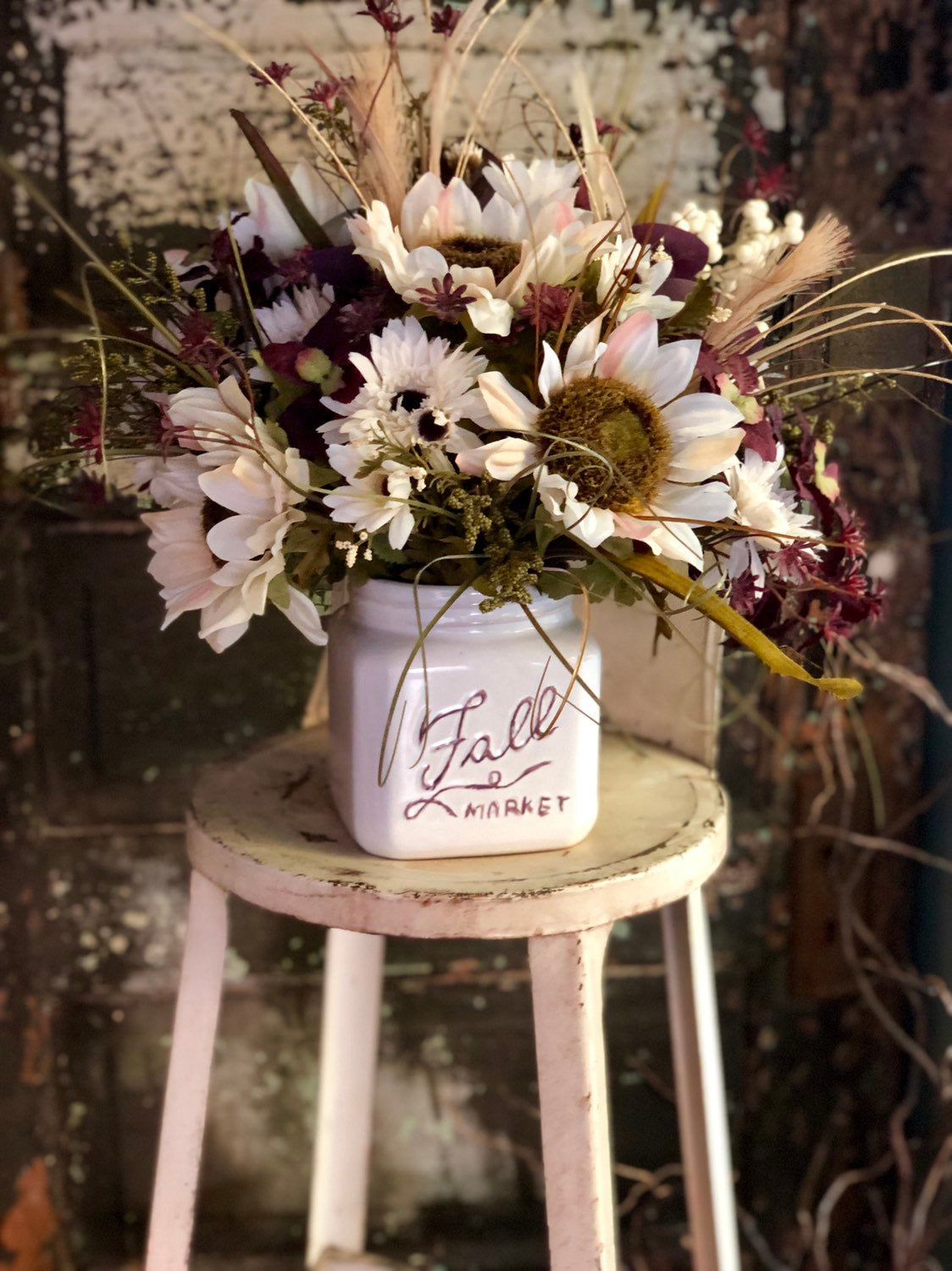 The Clarissa Fall Sunflower Centerpiece For Table~White autumn arrangement~Farmhouse Mason Jar florals~Rustic dining table centerpiece