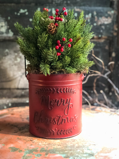 The Donner Rustic Farmhouse Christmas Pine Centerpiece For Table~Pine greenery in bucket~Natural green arrangement with red berries~winter