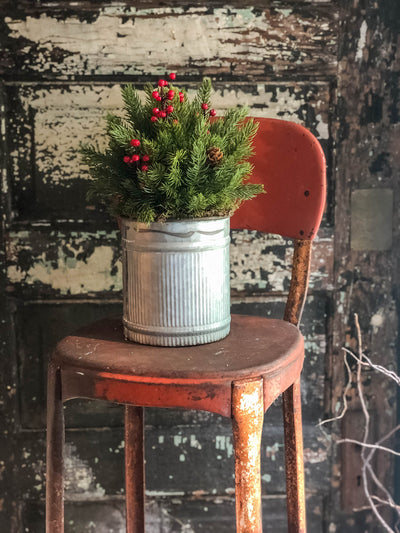 The Kringle Rustic Farmhouse Christmas Pine Centerpiece For Table~Pine greenery in bucket~Natural green arrangement with red berries~winter