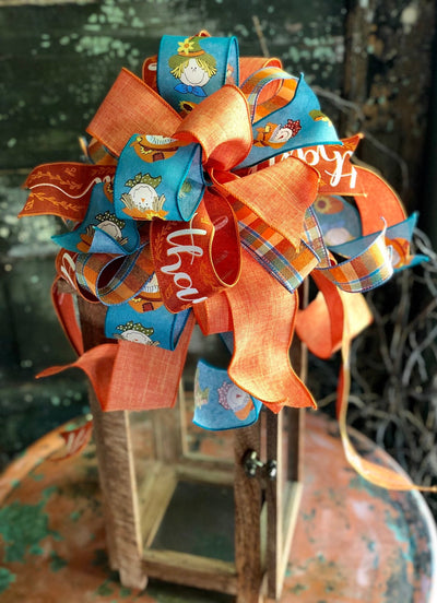 The Patsy Orange & Blue Fall Thankful Bow For Wreaths and Lanterns~Scarecrow bow, autumn bow, mailbox bow, country farmhouse bow~swag bow
