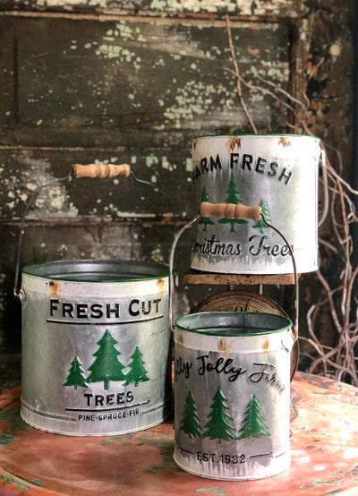 Fresh Cut Christmas Tree Galvanized Buckets~Metal painted pails with handle~Xmas galvanized pail with Christmas tree design~Farmhouse decor