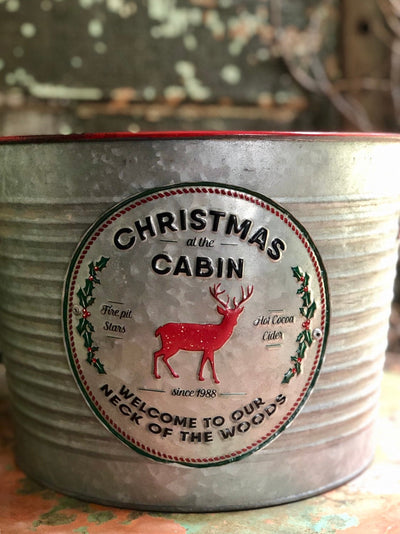 Christmas At The Cabin Market Galvanized Bucket~Large Round ribbed metal bucket with red handles~Tree bucket~Christmas planter~Xmas gift
