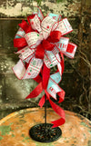 The North Pole Post Christmas Tree Topper Bow~Xmas bow for wreaths~Christmas lantern bow~Red white blue Christmas bow~Santa bow~lamppost bow