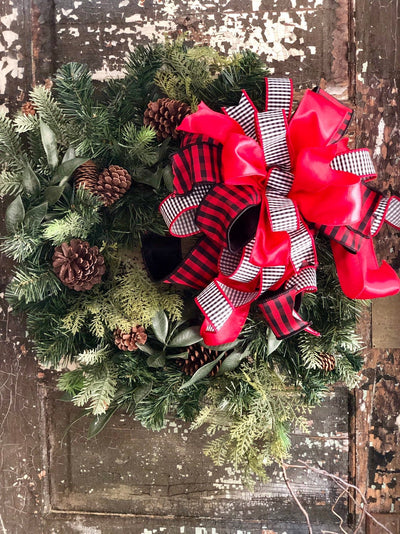 The Manhattan Red Black & White Check Christmas Bow For Wreaths and lanterns~Xmas Bow~Farmhouse elegant bow~Christmas Decor~All season Bow