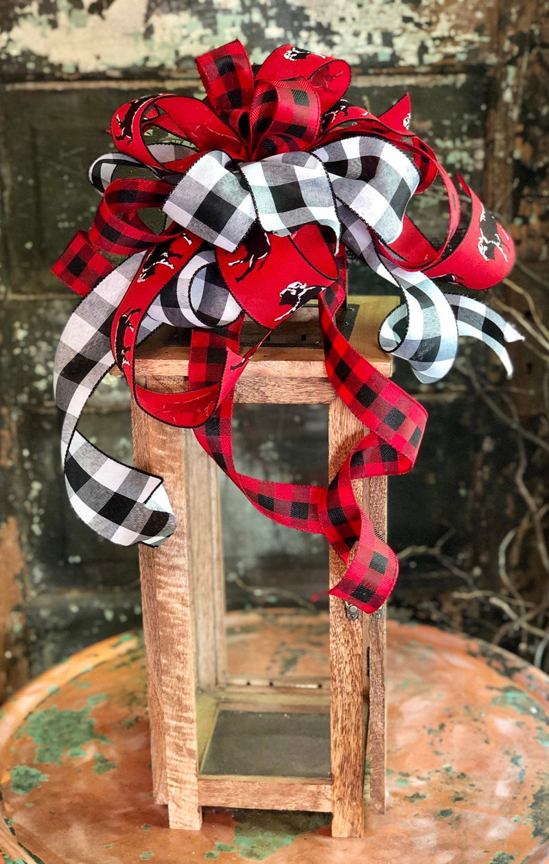 The Buffalo Bill Red Black & White Buffalo Check bow for lanterns and wreaths~mailbox bow~fall football bow~home decor~fall decor~swag bow