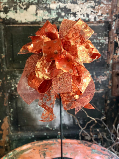The Beyonce Copper Bling Fall Bow For Wreaths & Lanterns~Mailbox bow~swag bow~Farmhouse glam bow~Swag bow~package bow~Fall decor~home decor