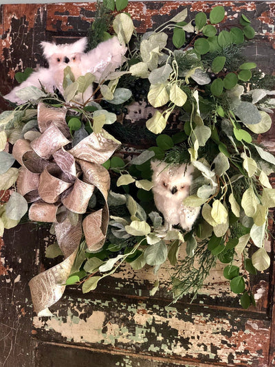The Jennifer Winter Woodland Owl Icy Christmas Wreath For Front Door~Farmhouse Eucalyptus winter wreath~Xmas wreath gold and silver snowy