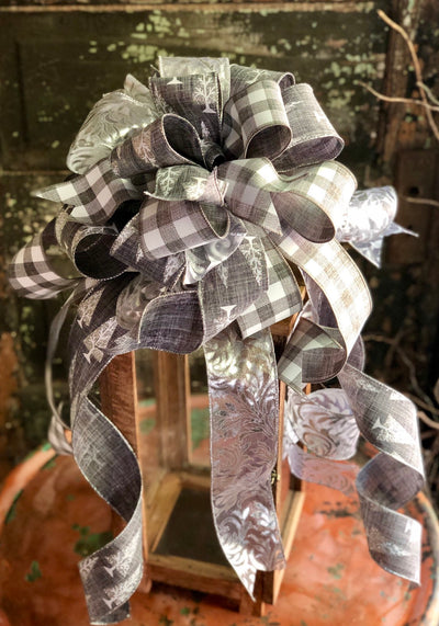 The Comet Grey & Silver Christmas Tree Topper Bow~Bow for wreaths~Xmas bow for lantern~farmhouse christmas bow~large bow~long streamer bow