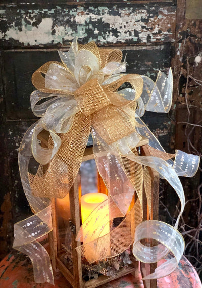 The Brandi Gold & White Christmas Tree Topper Bow~Large Ribbon topper bow~Mailbox bow~Swag Bow~Xmas Bow~Long Streamer Bow~Bow for Wreaths