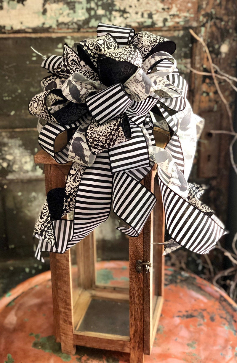 The Voldemort Black & White Halloween Bow For Wreaths~lantern bow~fall bow~halloween decor~Skull bow~spooky bow~farmhouse bow~raven bow