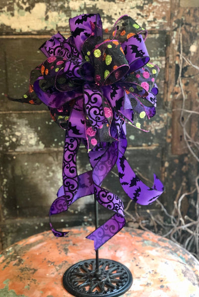 The Salem Purple Black & Polka Dot Halloween bow for wreaths and lanterns~spooky bow~bat bow~all hallows eve bow~halloween decor~mailbox bow
