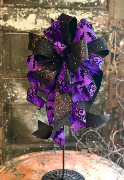 The Dracula Purple & Black Halloween Bow for wreaths and lanterns~Bat bow~all hallows eve~spooky bow~halloween decor~mailbox bow~swag bow