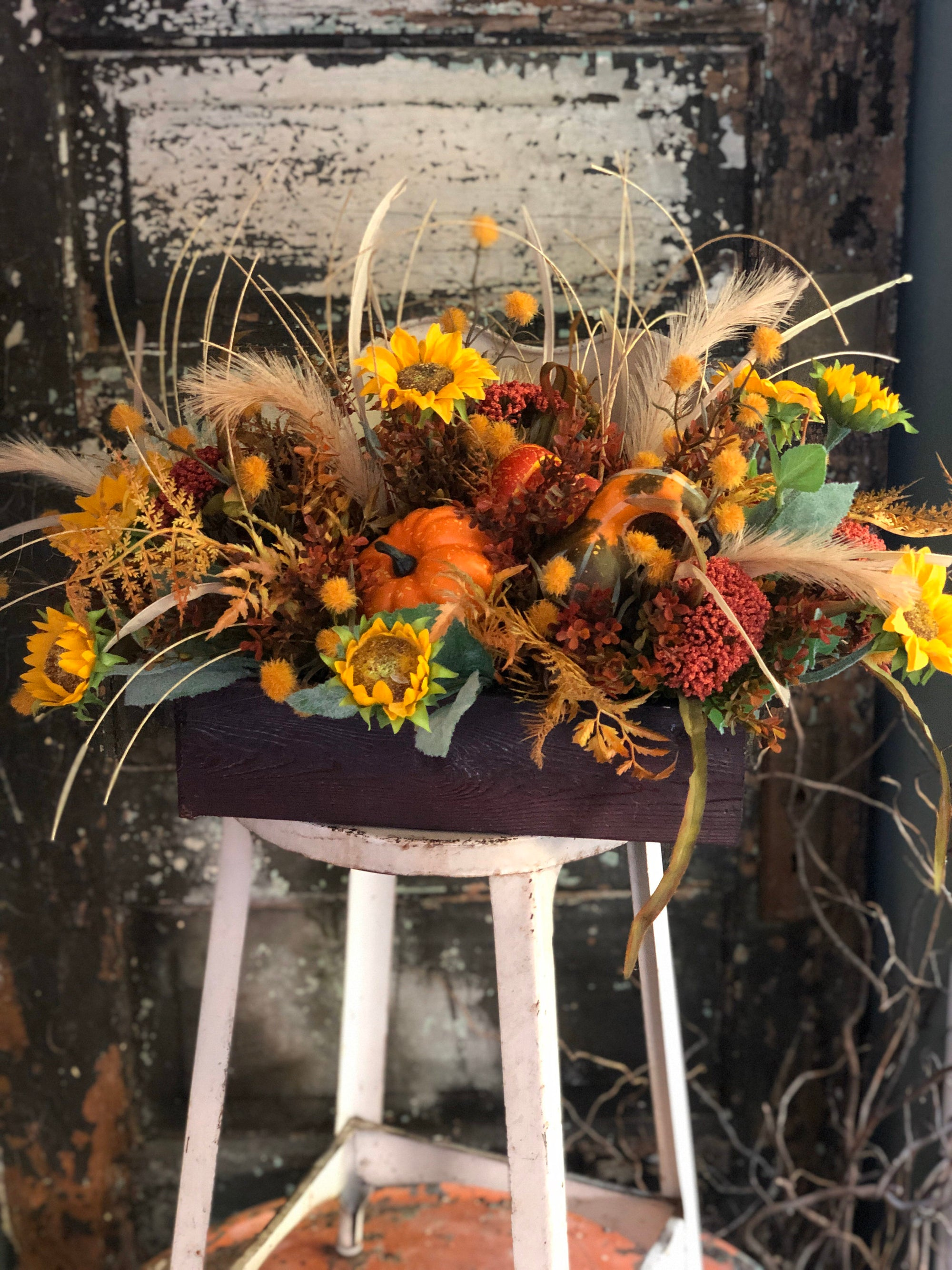 The Dana Fall Farmhouse Centerpiece For Dining Table~autumn arrangement~thanksgiving centerpiece~sunflower centerpiece~wildflowerarrangement