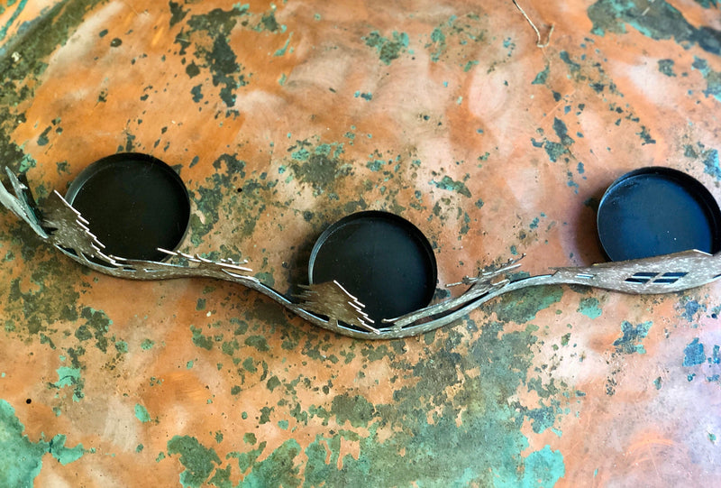 Metal Candle Holder For Mantles~curved 3 pillar candle holder for tables~farmhouse mantlepiece~rustic Christmas candle holder~gift for her