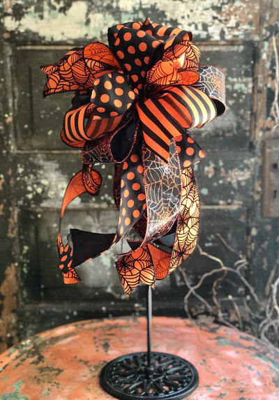 The Mena Black & Orange Polka Dot Stripe Halloween bow for wreaths and lanterns~halloween decor~spooky bow~fall bow~spiderweb bow~spooky bow