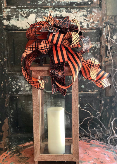 The Sabrina Black & Orange Halloween Bow For Wreaths and Lanterns~Halloween decor~spiderweb bow~spooky bow~all hallows eve bow~mailbox bow