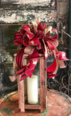 The Dasher Red Black & Gold Christmas Tree Topper Bow~Bow for wreaths and lanterns~Xmas Reindeer Bow~Swag Bow~Farmhouse ChristmasDecor