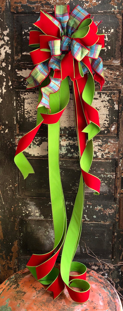 The Madison Red Blue & Green XL Christmas Tree Topper Bow~Bow for wreaths~Xmas plaid Bow~Farmhouse Cottage Bow~Long Stream ribbon topper