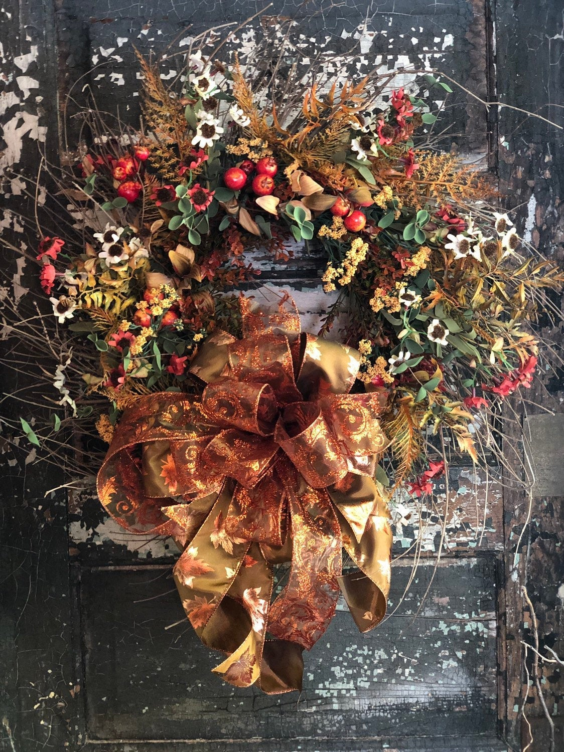 The Janine Fall Wildflower Wreath For Front Door~Orange Yellow & Copper Thanksgiving wreath~Cottage decor~Farmhouse Decor~Autumn Wreath