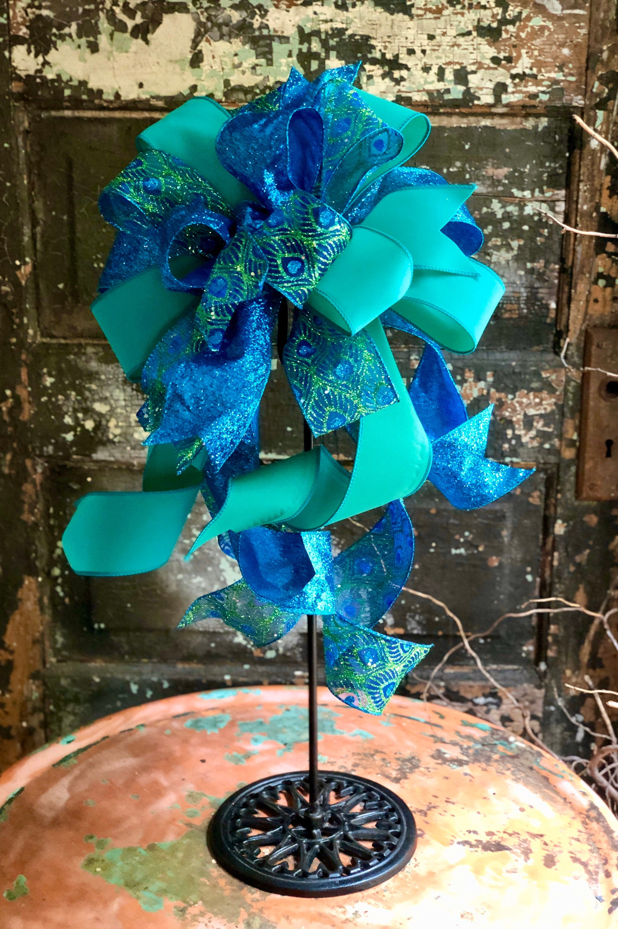 The Penelope Blue & Green Peacock Bow For Wreaths~Christmas Tree topper bow~Bow for lantern~swag bow~large Xmas Bow~ribbon topper