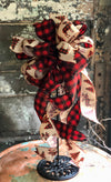 The Georgianna Buffalo Check Christmas Tree Topper Bow~Rustic Farmhouse Bow for wreaths~Red & Black Country ribbon topper~Lantern Bow