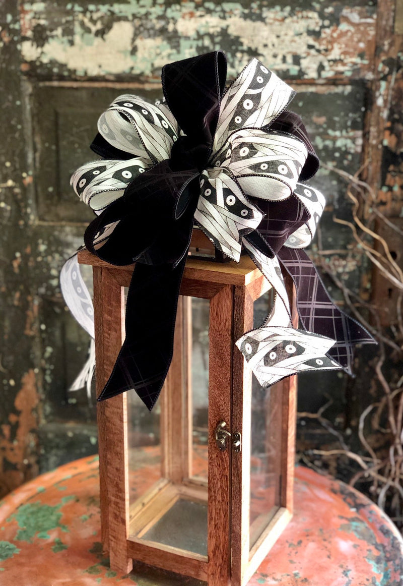 The Imhotep Black & Tan Halloween Mummy Bow for Wreaths and Lanterns~Spooky bow for mailbox~All hallows eve~halloween decor~Swag bow~scary