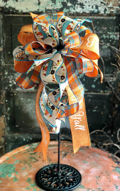 The Donya Orange & Blue Fall Pumpkin Bow For Wreaths and Lanterns~Autumn Bow~Swag bow~mailbox bow~fall decor~Happy fall y'all country bow