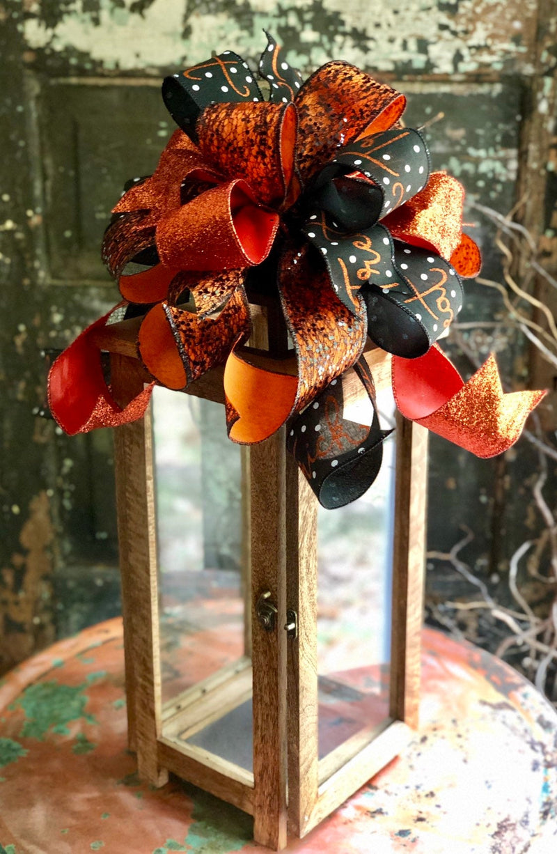 The Tabitha Orange & Black Halloween Bow For wreaths and Lanterns~Trick or treat swag bow~mailbox bow~Halloween decor~fall bow~polka dot bow