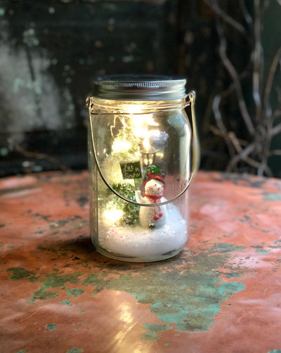 The Jolly Mason Jar Dry Snow Globe With Lights~Snowman Christmas Decor~Mason Jar decor~Xmas snowman Christmas tree scene~Christmas decor