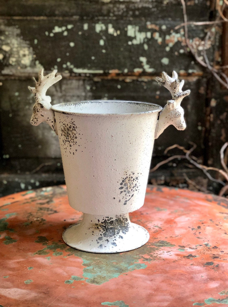 White & Grey Stag Urn Metal Container~Christmas decor~rustic cabin decor~Xmas decor~Reindeer metal contianer for florals~Cottage decor