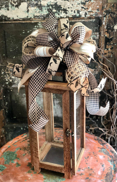 The Raven Black & Tan Halloween Pumpkin Bow for Wreaths and Lanterns~Spooky bow for mailbox~All hallows eve~halloween decor~Swag bow~scary