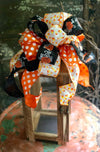 The Hagrid Orange & Black Pumpkin Halloween Bow For wreaths and Lanterns~Candy corn mailbox bow~Halloween decor~fall bow~polka dot bow