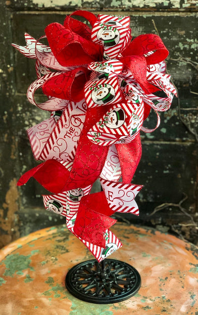 The Frosty Red & White Christmas Tree Topper Bow~Xmas bow for wreaths~large christmas lantern bow~Snowman bow~christmas decor~Snowman decor