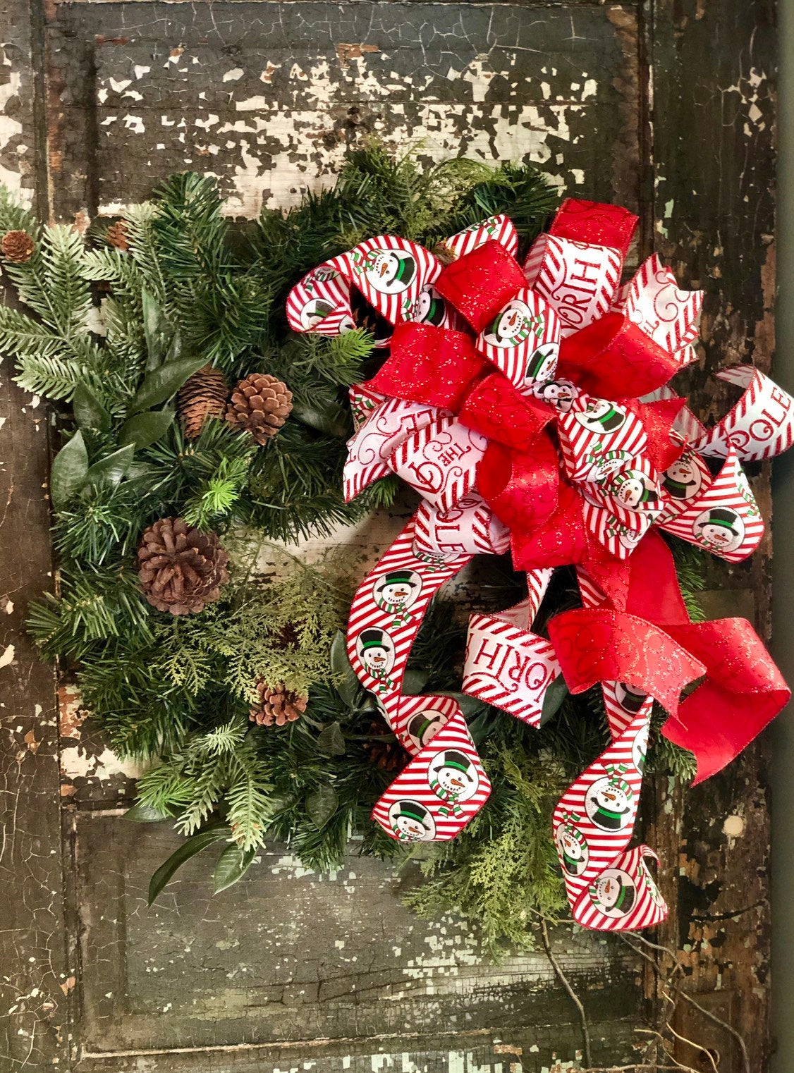 The Frosty Red & White Christmas Tree Topper Bow - Crested Perch