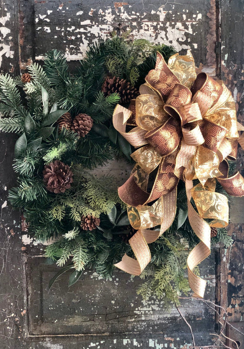 The Balsam Gold Christmas Tree Topper Bow~Xmas Bow for wreaths~Farmhouse elegant bow~Christmas Decor~Mailbox swag Bow~Lantern Bow~Xmas Decor
