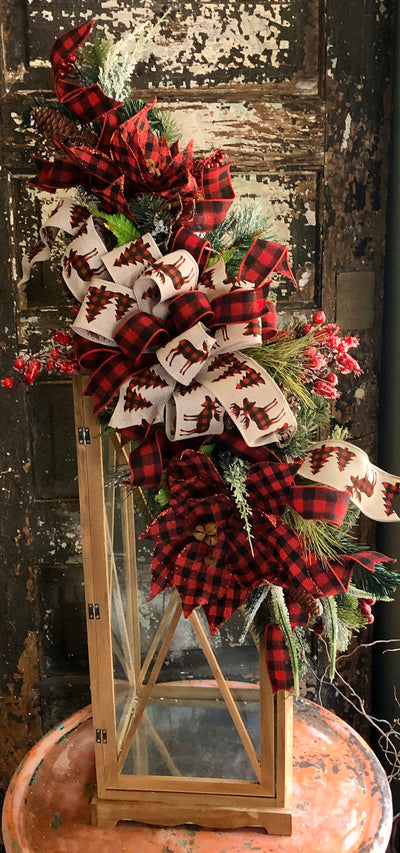 The Felicity Red & Black Buffalo Check Christmas Mailbox Swag~Mantle decor~rustic cabin swag~farmhouse swag~christmas centerpiece~lodge deco