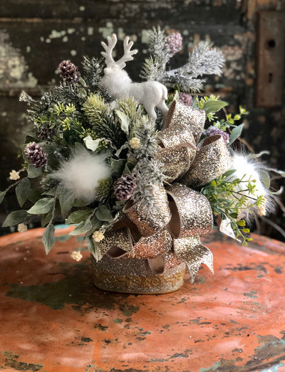 The Gillian Gold & Silver Christmas Centerpiece For Dining Table~Winter arrangement for kitchen~Mixed pine silk flower centerpiece~Deer deco