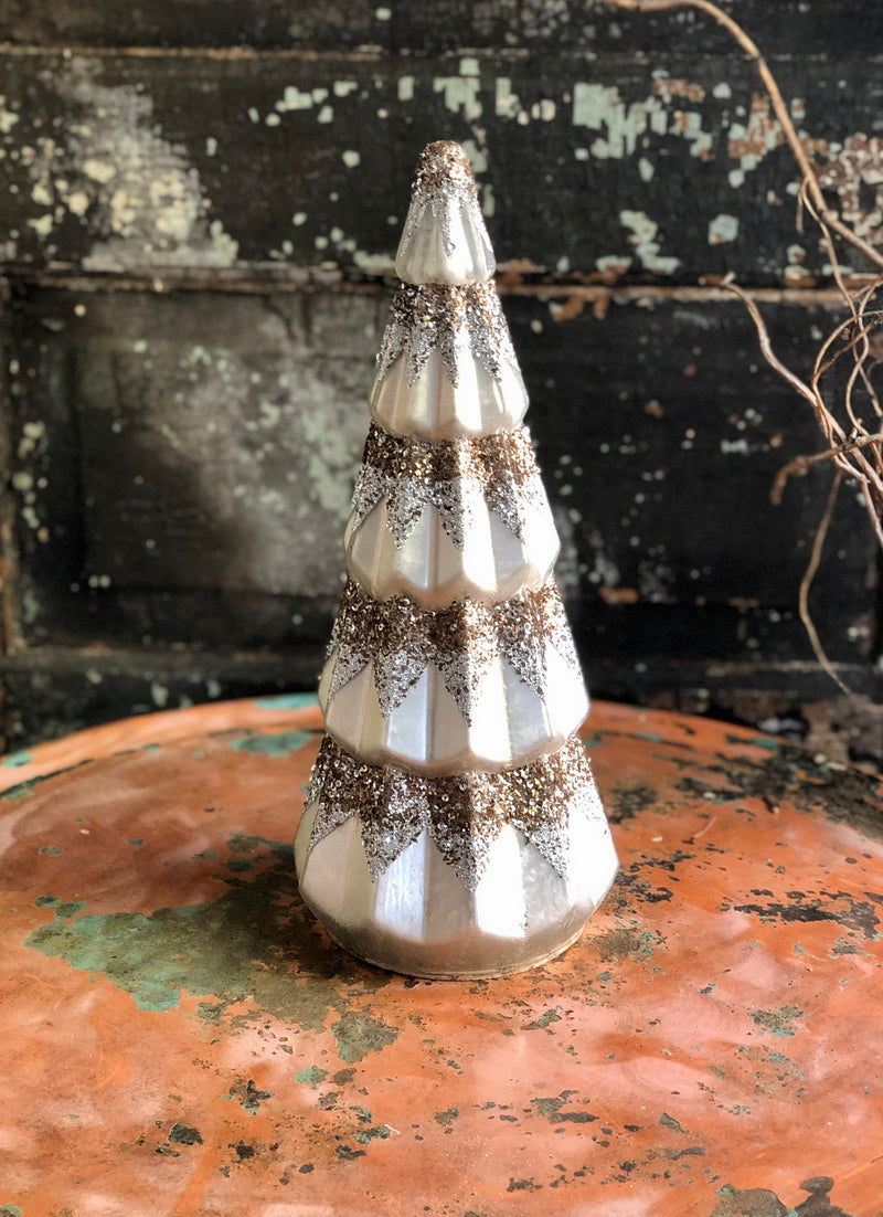 Ceramic Gold & Silver Tabletop Christmas Tree~Christmas decor for table~Ceramic glitter vintage style tree~Mini Ceramic Tree ~Vintage style