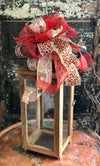The Emily Red & Tan Christmas Bow, French country bow, bow for lantern, bow for wreaths, long streamer bow for mailbox, christmas decor