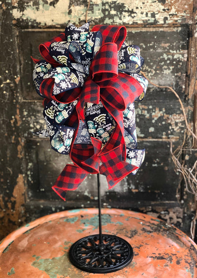 The Wanda Navy & Red Buffalo Check Christmas Bow, bow for lantern, bow for wreaths, long streamer bow for mailbox, christmas decor
