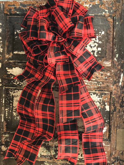 The Lizzy Farmhouse Christmas Tree Topper Bow~Red & Black extra large bow for wreath~farmhouse Christmas tree bow~Rustic christmas decor