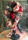 The Claus Red & Black Christmas Tree Topper Bow~Xmas bow for wreaths~lantern bow~farmhouse bow~red truck bow~puppy dog paw print bow