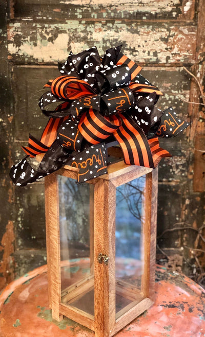 The Wednesday Halloween Bow for Wreaths~Halloween bow for lantern~black orange halloween decor~fall bow~spooky bow~trick or treat bow