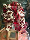 The Griswold Reed & Black Buffalo Check Christmas Tree Topper Bow~bow for wreaths~Xmas bow~lantern bow~swag bow~farmhouse christmas bow