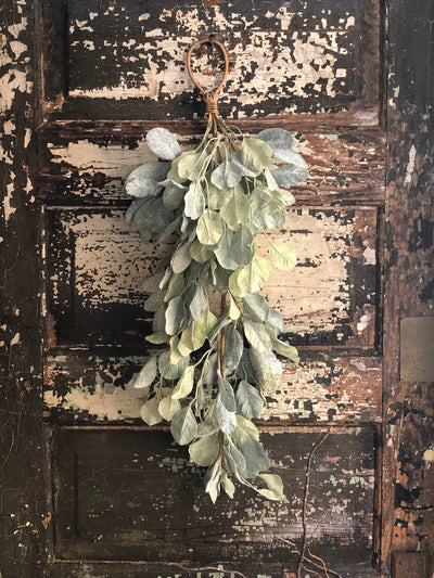 Eucalyptus & Lamb's Ear Flocked Glitter Winter Swag, Christmas Swag, Winter swag, Christmas decor, farmhouse French country cottage decor